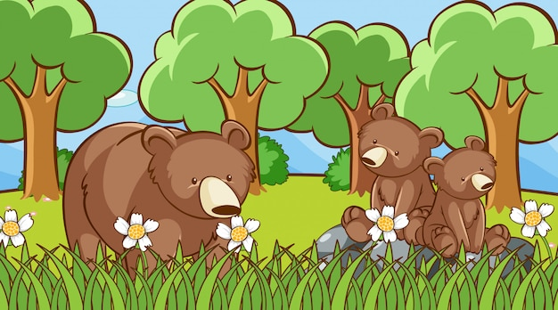 Grizzly bears in the forest Free Vector