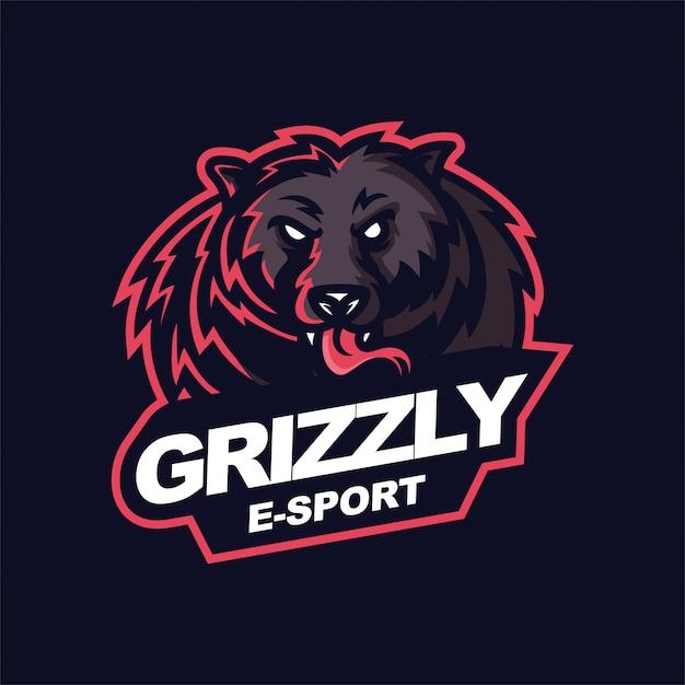 Grizzly e-sport gaming mascot logo template Premium Vector