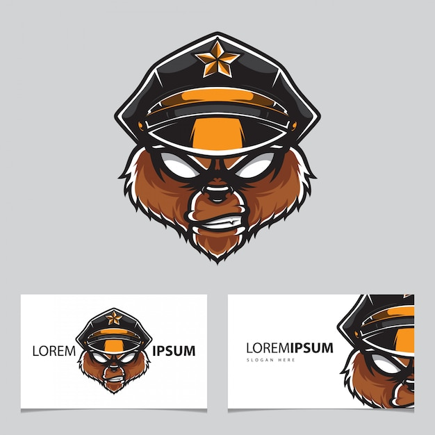 Grizzly police head logo name card  template Premium Vector