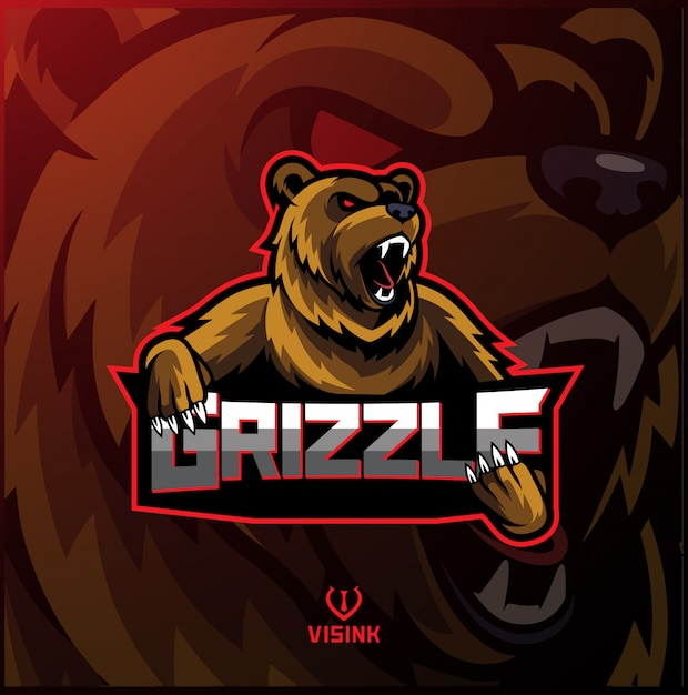 Grizzly sport mascot logo design Premium Vector