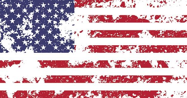 アメリカ、アメリカ合衆国の旗と公式のプロポーションと色、ビンテージ、grnugeテクスチャ Premiumベクター