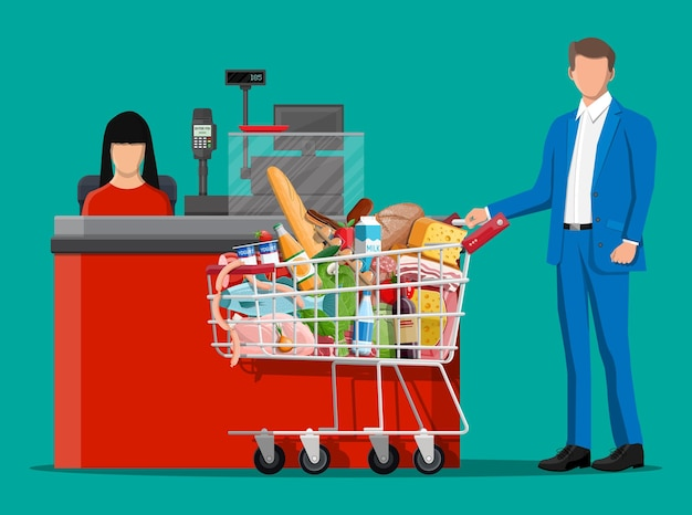 Groceries in checkout counter. grocery store collection. supermarket. fresh organic food drinks. mi