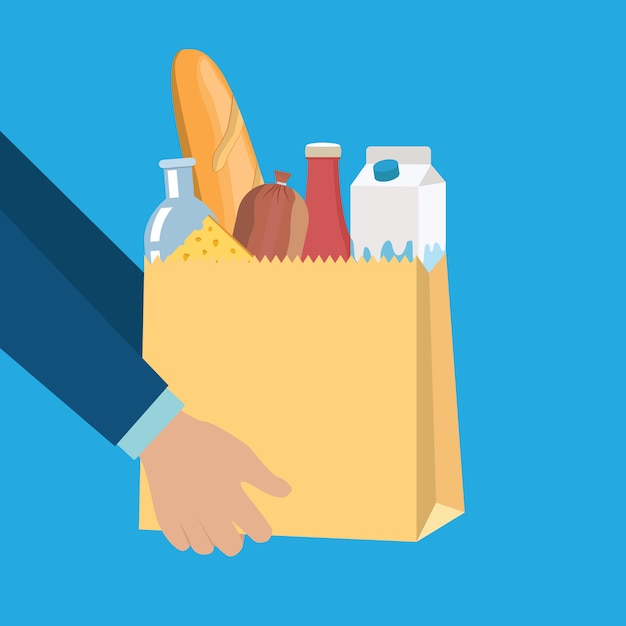 Groceries set in paper shopping bag with cheese Premium Vector