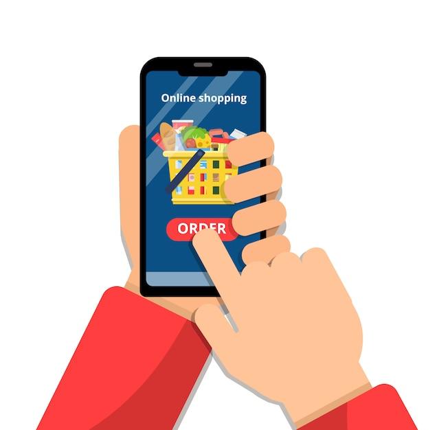 Grocery basket online. hands holding smartphone and make order app commerce food market vector concept Premium Vector