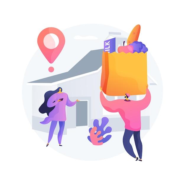 食料品店の抽象的な概念のベクトル図です。地元の店の配達、オンライン食料品の買い物注文、安全食品サービス、外出禁止令、社会的距離、検疫の抽象的な比喩。 無料ベクター