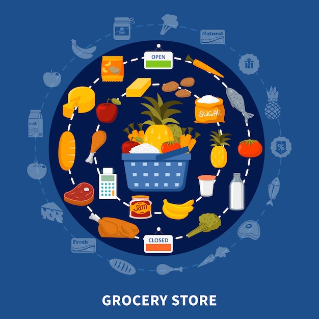 Grocery food supermarket round composition Free Vector