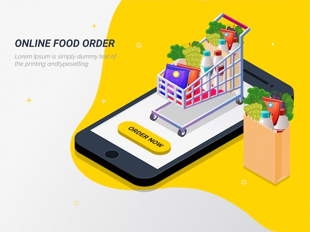 Grocery online from app by smart phone. Premium Vector