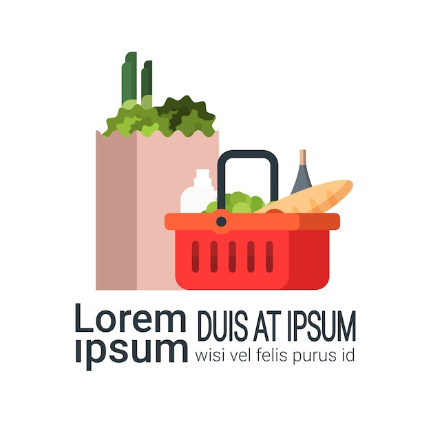 Grocery products in paper bag and shopping basket isolated Premium Vector