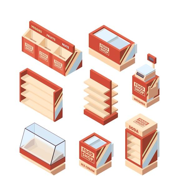 Grocery shop furniture. store fridge shelves cash register shopping cart vector isometric supermarket tools. illustration commercial fridge for shopping, freezer supermarket Premium Vector