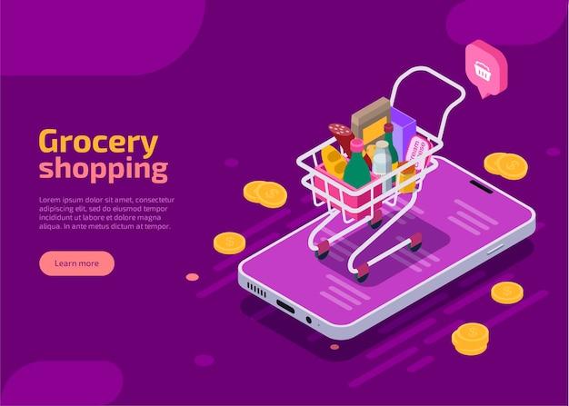 Изометрическая целевая страница продуктовых покупок, фиолетовый веб-баннер. Бесплатные векторы
