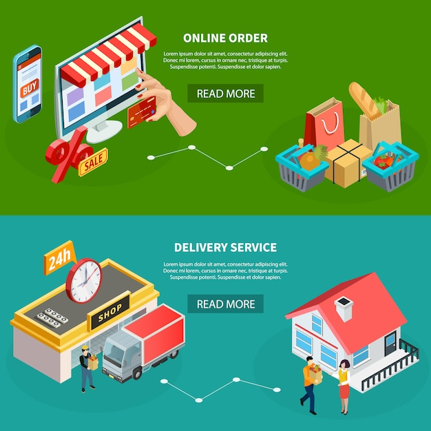 Grocery store isometric banners Free Vector