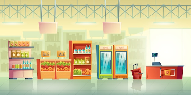 Grocery store trading room interior cartoon vector with shopping baskets near cash counter desk Free Vector
