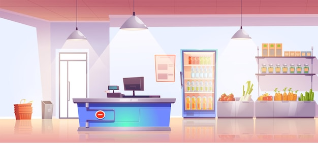 Grocery store with cashier desk and production on shelves and cold drinks in refrigerator Free Vector