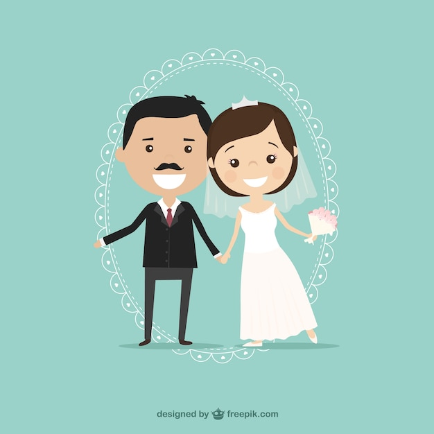 Groom and bride illustration Free Vector