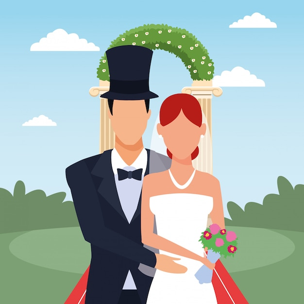 Groom and bride standing over floral arch and landscape Premium Vector