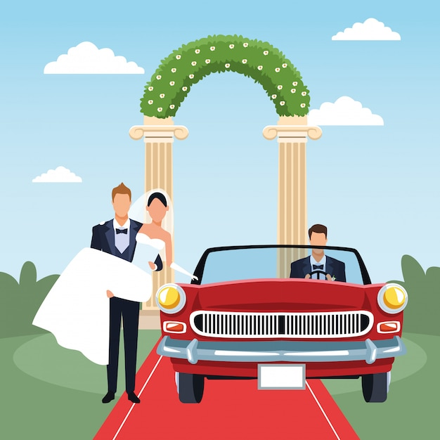 Groom holding bride in his arms and red classic car in just married scenery, colorful design Premium Vector