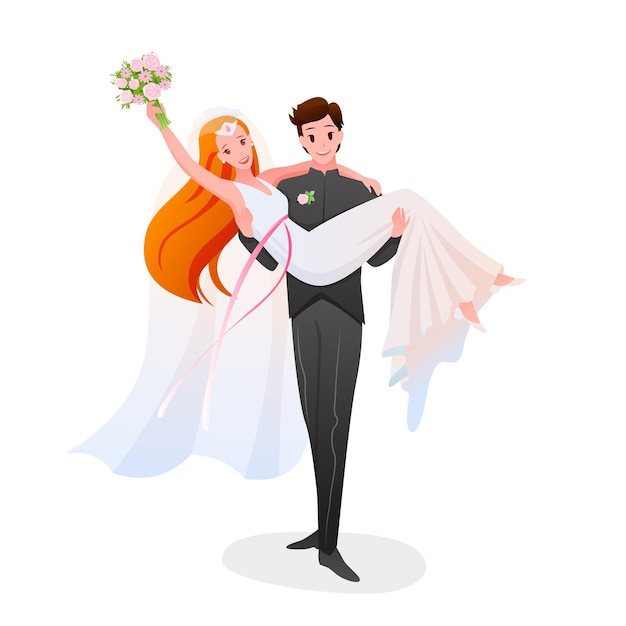 Groom holds the bride in his hands, happy couple. marriage bridal ceremony day isolated on white Premium Vector