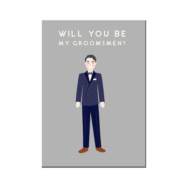 Groomsmen invitation with cute cartoon portrait character in tux Premium Vector