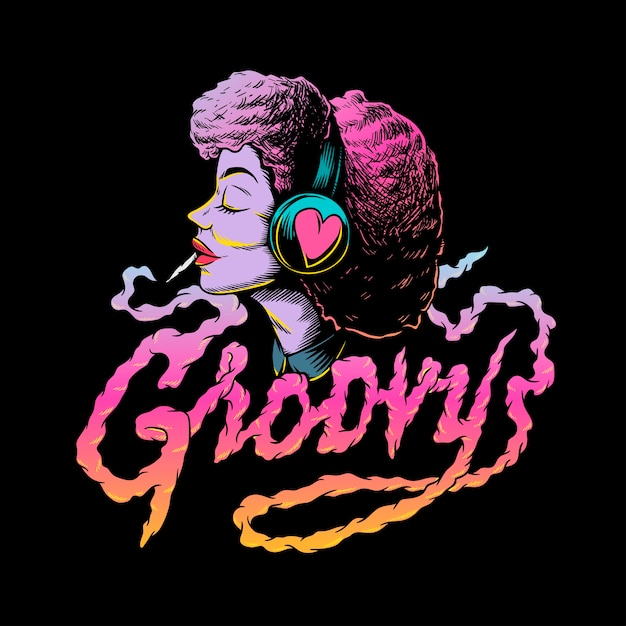 Groovy afro music creative illustration Premium Vector
