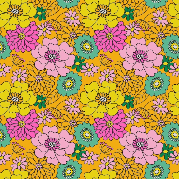 그루비 꽃 패턴 손으로 그린 무료 벡터