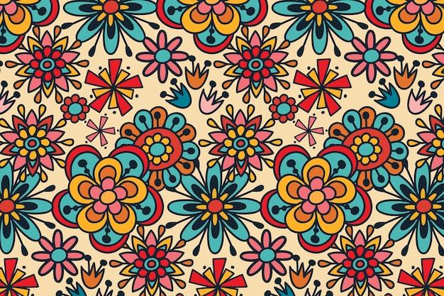 グルーヴィーな手描きの花の繰り返しパターン 無料ベクター