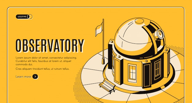 Ground-based observatory for astronomical observations Free Vector