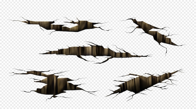 Ground cracks, fractures on land surface, earthquake breaks in perspective view. realistic set of fissure in ground, crevices from disaster or drought isolated on transparent background Free Vector