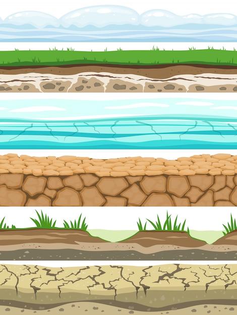 Наземные бесшовные уровни. дезертированная земля почва ледяная трава текстура воды каменные поверхности. игровой интерфейс вектор Premium векторы