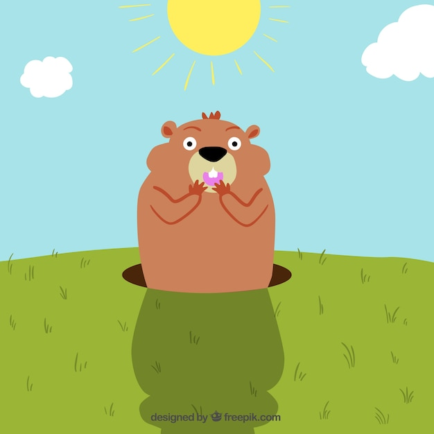 Groundhog day Free Vector