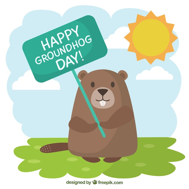 Groundhog with a greeting poster illustration Vector ...