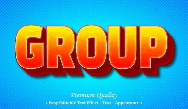 Group 3d editable text style effect Premium Vector
