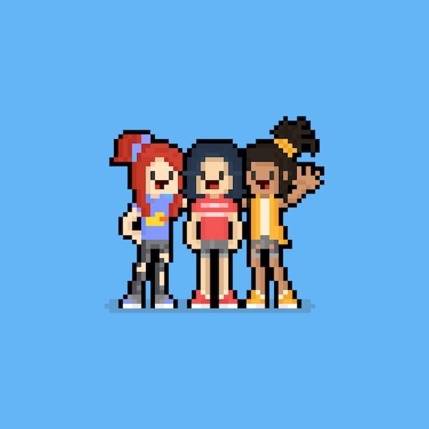 ピクセルアートの友情日漫画の女の子キャラクターgroup.8bit。 Premiumベクター