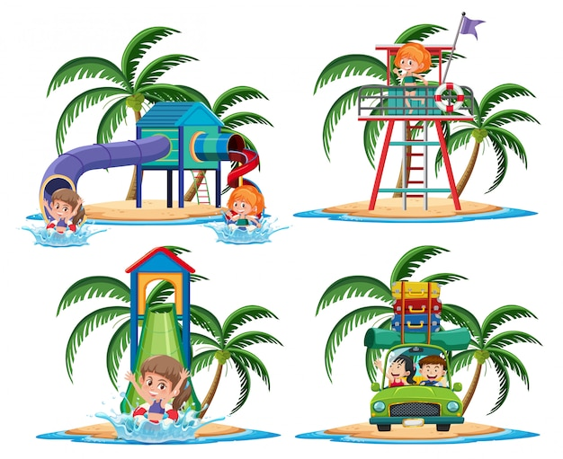 Group of activities on the tropical island cartoon character on white background Premium Vector