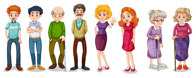 A group of adults Free Vector