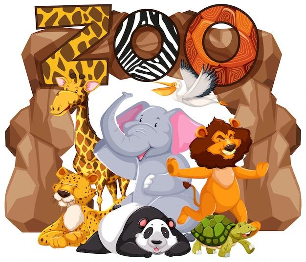 Gruppo di animali sotto il segno dello zoo Vettore gratuito