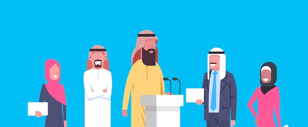 Group of arab business people speakers on conference meeting or presentation, team of arabian businesspeople of politicians candidates Premium Vector