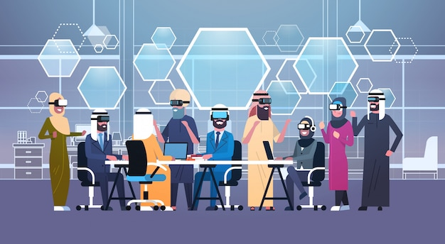 Group of arab business people wearing 3d glasses during meeting in office Premium Vector