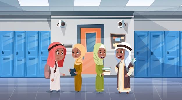 Group of arab pupils Premium Vector