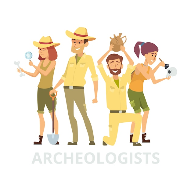 Group of archeologists  on white background.  archaelogists characters illustration Premium Vector