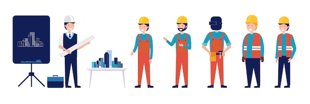 A group of architect and civil engineering planning building vector illustration Premium Vector