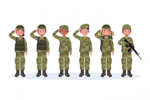 Group of army, men and woman, in camouflage combat uniform saluting. Premium Vector
