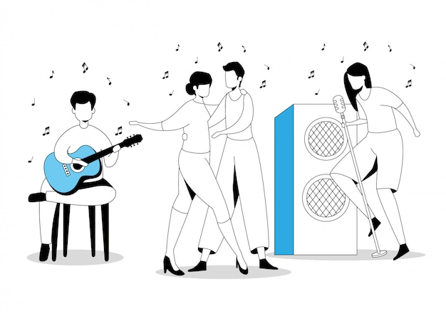Group artists dancing and singing Free Vector