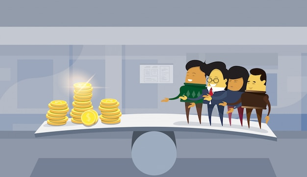 Group of asian business people vs money on balance scale office background Premium Vector