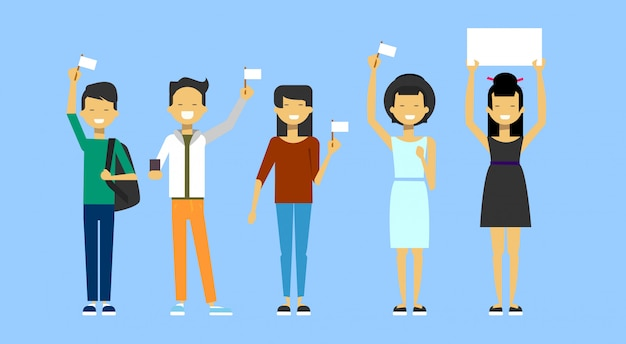 Group of asian people holding blank flags and empty placard Premium Vector