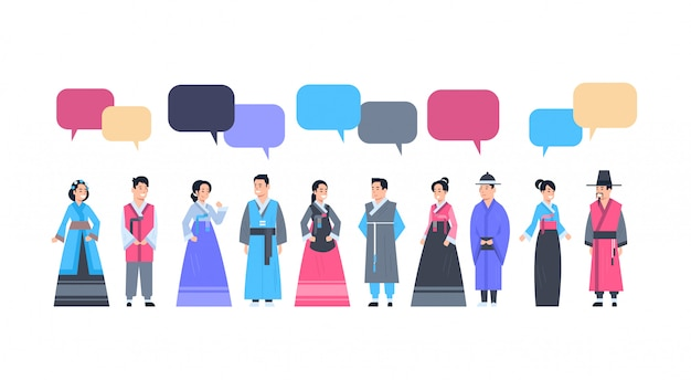 Group of asian people in traditional clothes with chat bubble women and men dressed in ancient costumes communication concept Premium Vector