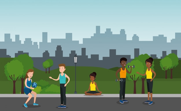 Group of athletes practicing sports on the park Free Vector
