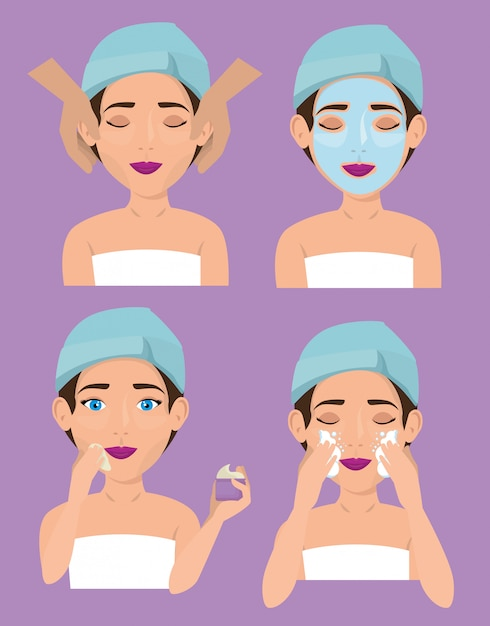 Group of beautiful women in facial treatment Free Vector