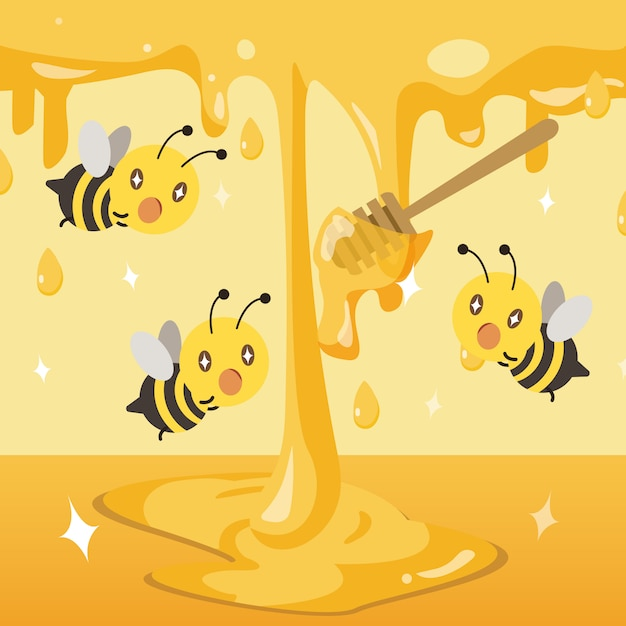 A group of bee exciting with the honey. honey dropping in to the ground Premium Vector