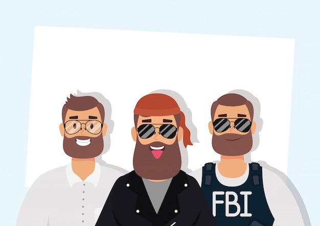 Group of big men characters Premium Vector