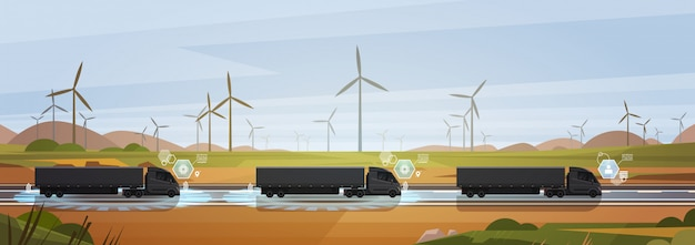 Group of black cargo truck with trailers driving on countryside road over nature landscape horizontal Premium Vector